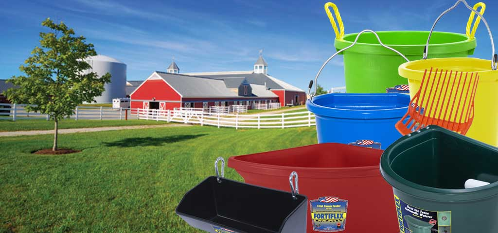 Page banner for plastic products featuring barn and farm background